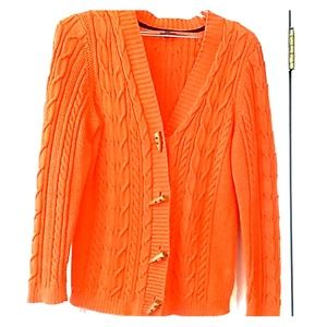 Talbots PL Coral orange knitted sweater #T011SW